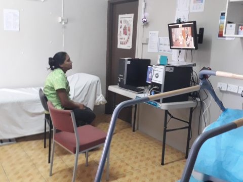 Patients mother during tele health